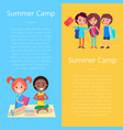 summer camp template poster with happy children vector image vector image