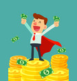 super businessman in red cape stand on stacks of vector image