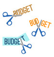 title budget and scissors that cutting it vector image