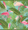 tropical seamless flamingo and summer pattern vector image vector image
