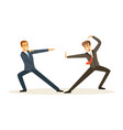 two businessmen fighting business competition vector image