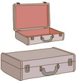 Vintage leather suitcase vector image vector image