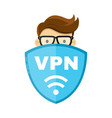 vpn protect safety concept man and save vector image vector image