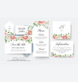 wedding floral save the date menu label cards vector image vector image