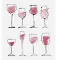 Wine glass set - collection sketched watercolor vector image