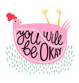 with pink chicken in green grass and lettering vector image vector image