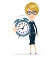 woman with alarm clock vector image vector image