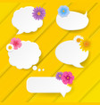 yellow banner with speech bubble with flowers vector image vector image