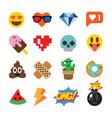 set of cute emoticons stickers emoji design vector image