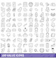 100 value icons set outline style vector image vector image