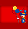 background template design with happy clown vector image vector image
