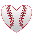 Baseball leather ball as a heart vector image vector image