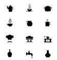 Black Icon Set kitchen vector image vector image