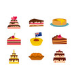 cake icon set flat style vector image vector image
