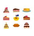 cake icon set flat style vector image