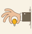 cartoon businessman hand holding idea light bulb vector image vector image