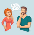 cartoon color characters people thinking couple vector image vector image
