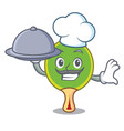 chef with food ping pong racket mascot cartoon vector image