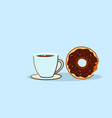 chocolate donut with coffee cup sweet freshly vector image