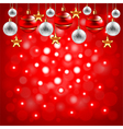 Christmas balls on red background vector image vector image