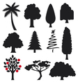 collection trees silhouettes vector image