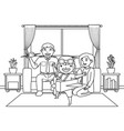 dad and mom with their son who wants vector image vector image