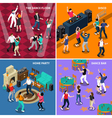 Dancing People 4 Isometric Icons Square vector image vector image