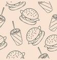 fast dood burger and soda seamless pattern vector image vector image