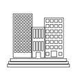 figure buildings and city scene line sticker vector image vector image