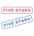 five stars textile stamps vector image vector image