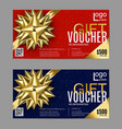 gift card layout template with golden bow ribbon vector image