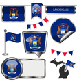 Glossy icons with Michigander flag vector image vector image