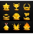 Gold awards set on black vector image