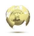 golden bitcoin in globe earth concept vector image vector image