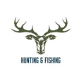 hunting and fishing vintage label vector image vector image