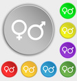 male and female icon sign Symbol on five flat vector image