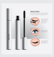 mascara packaging with eye makeup vector image vector image