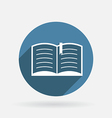 open book Circle blue icon with shadow vector image