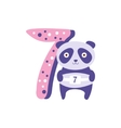 Panda Standing Next To Number Seven Stylized Funky vector image vector image