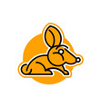 rabbit logo pet isolated object orange vector image vector image