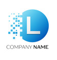 realistic letter l logo in colorful circle vector image vector image