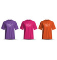 realistic t-shirt purple pink orange set vector image