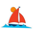 sailboat on waves with line art elements vector image