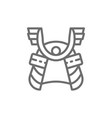 samurai helmet japanese warrior mask line icon vector image