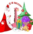 Santa Claus with sweets in a long beard tree vector image