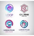 set abstract colorful loop logos circle vector image