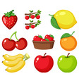 set different types fruits on white vector image vector image