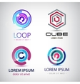 set of abstract colorful loop logos circle vector image