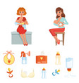 set of colorful items related to breastfeeding vector image vector image