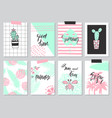 set of cute hand drawn summer cards background vector image vector image